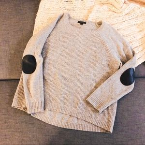 Jcrew grey sweater with leather like elbow patches